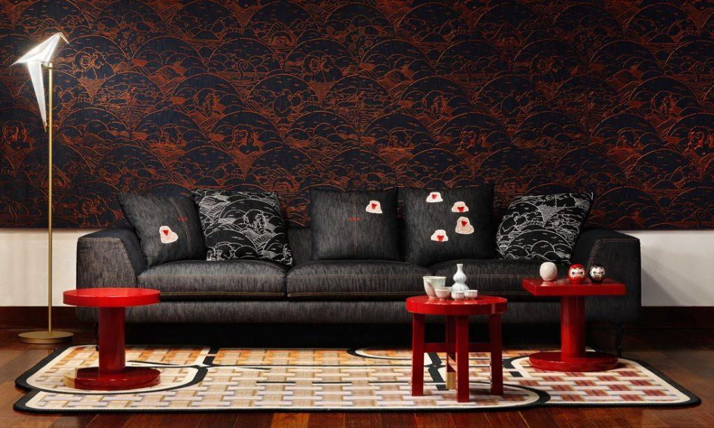 Moooi Wallcovering Tokyo Blue Indigo Macaque MO3000 Interior Shot