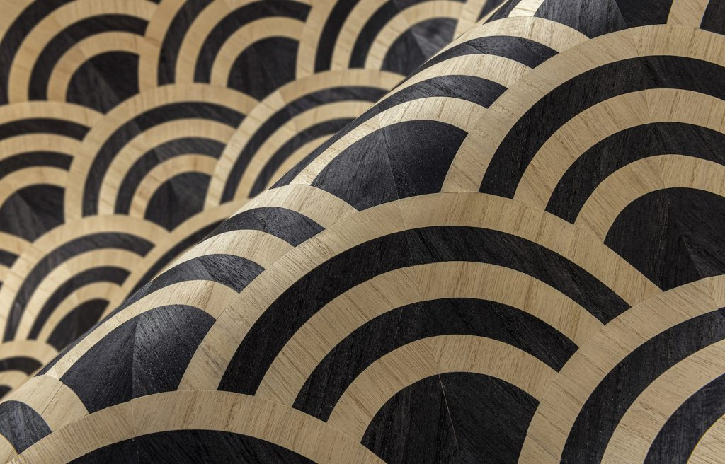 Moooi Wallcovering Tokyo Blue Lucky O's MO3040 - Birch & Black Product Image
