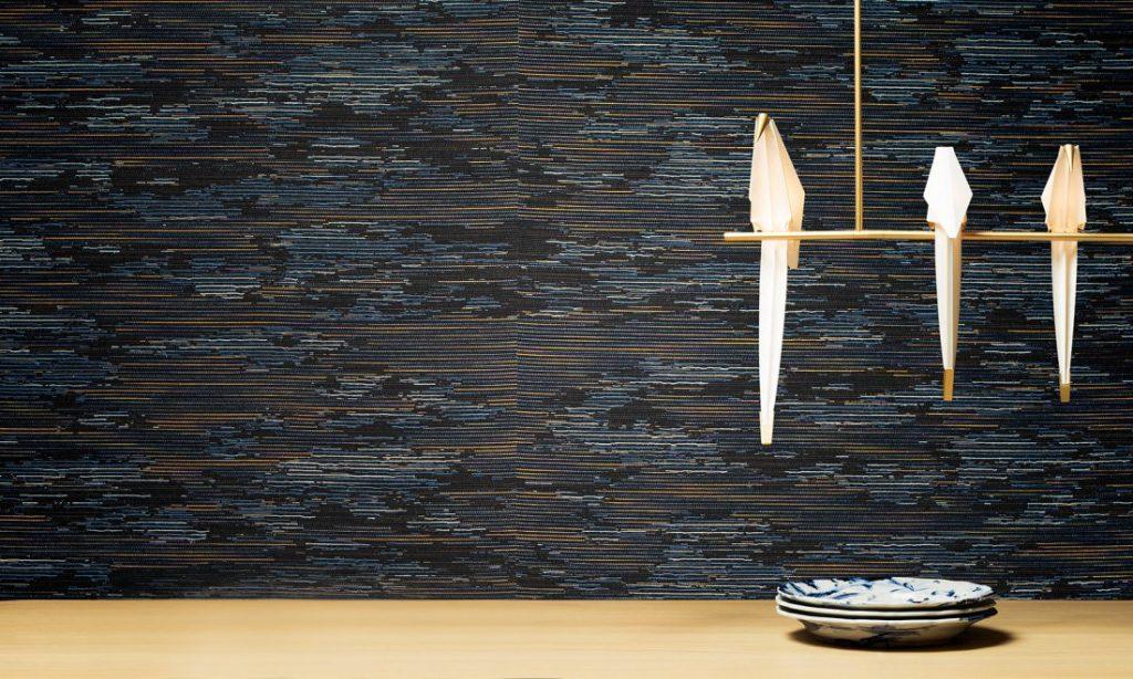 Moooi Wallcovering Tokyo Blue Tie-tami MO3022 - Sunset Interior Shot